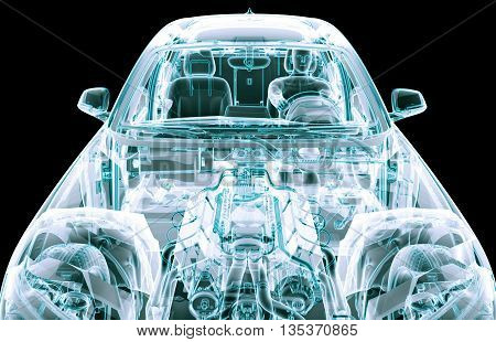 Xray Image Of A Car With Test Driver