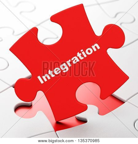 Business concept: Integration on Red puzzle pieces background, 3D rendering