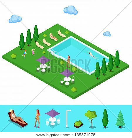 Isometric Swimming Pool. Summer People near the Outside Pool. Vector illustration
