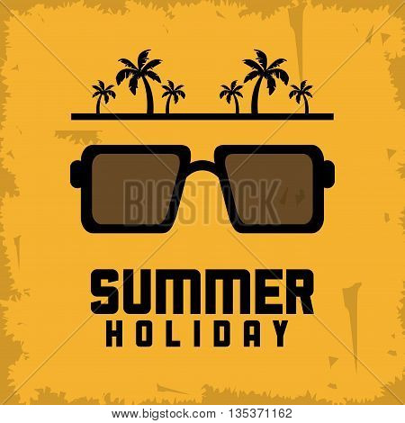 Summer Holidays represented by glasses icon. Grunge and yellow background