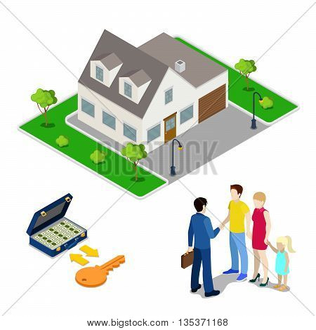 Real Estate Business. Broker Agent Selling House to Young Family. Isometric People. Vector illustration