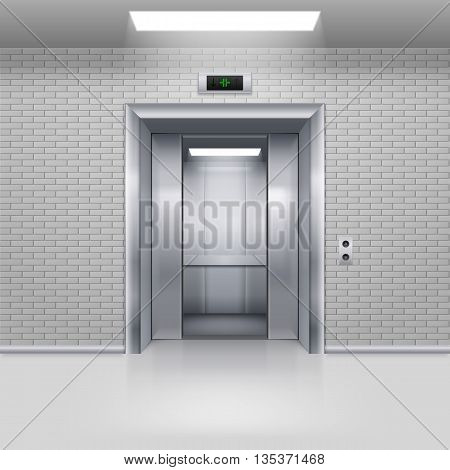 Half Open Chrome Metal Elevator Door in a Brick Wall