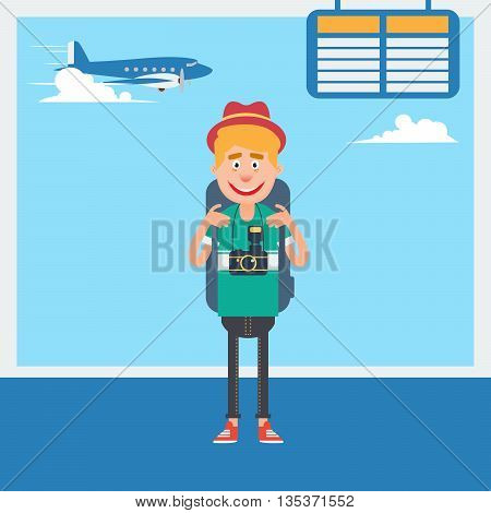 Happy Tourist Waiting to Departure to the Vacation in Airport. Vector illustration