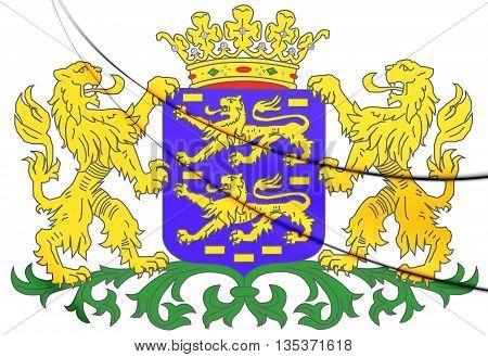 Friesland Coat Of Arms, Netherlands. 3D Illustration.