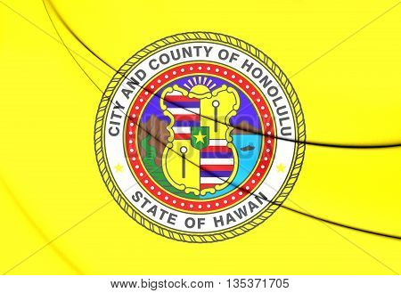 Flag Of Honolulu (hawaii), Usa.