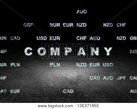 Finance concept: Glowing text Company in grunge dark room with Dirty Floor, black background with Currency