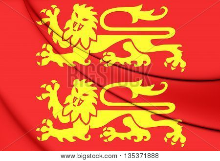 Flag of Normandy France.  Close Up.