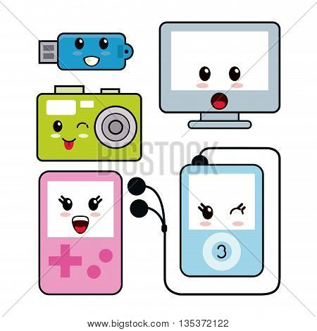 Kawaii represented by technology cartoon icon. Happy expression.   isolated and flat background