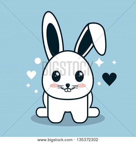 Kawaii represented by rabbit cartoon icon. Happy expression. blue and flat background