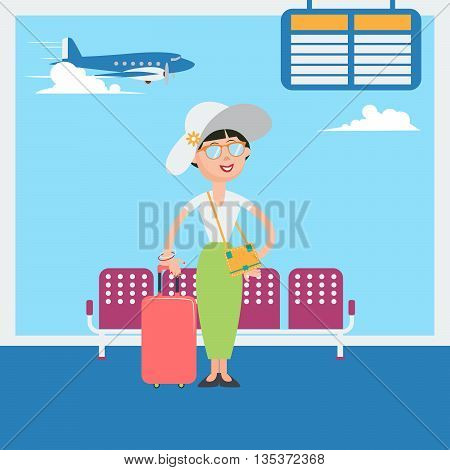 Happy Woman Waiting to Departure to the Vacation in Airport. Vector illustration