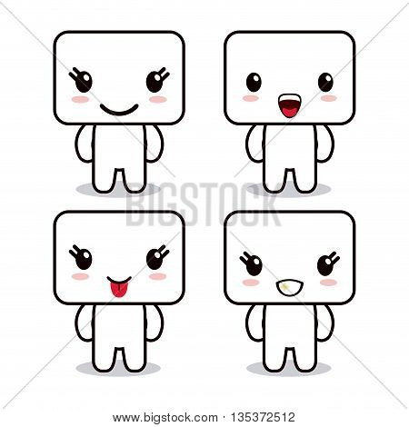 Kawaii represented by cube cartoon icon. Happy expression. isolated and flat background