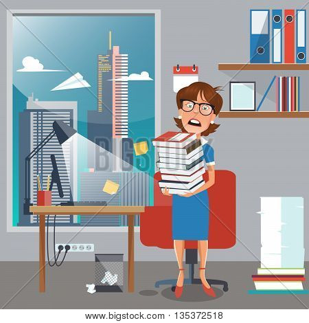 Stressed Business Woman with Documents in Office. Vector illustration