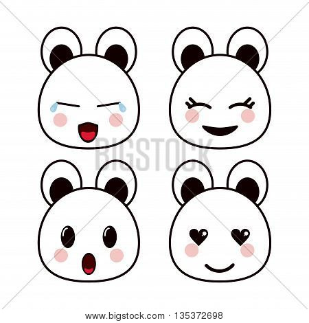 Kawaii represented by bear cartoon icon. Happy expression. isolated and flat background
