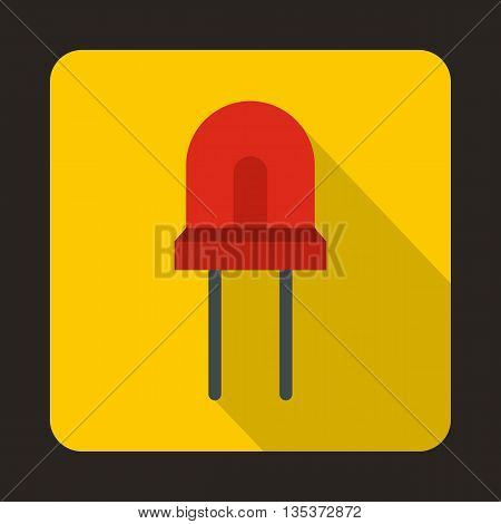 Red halogen lamp icon in flat style on a yellow background