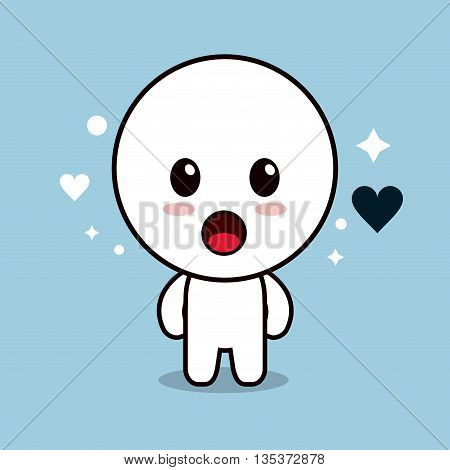 Kawaii represented by circle cartoon icon. Happy expression. blue and flat background
