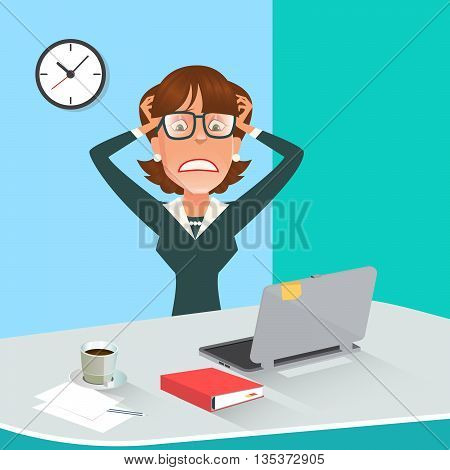 Stressed Business Woman in Office Work Place with Computer. Vector illustration