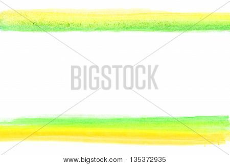 Watercolor lines frame. Brush draws yellow and geen lines isolated on white.