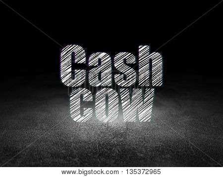 Business concept: Glowing text Cash Cow in grunge dark room with Dirty Floor, black background
