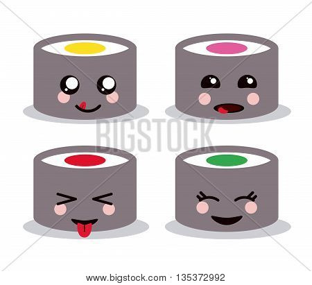 Kawaii represented by set of pencil color cartoon icon. Happy expression.  isolated and flat background
