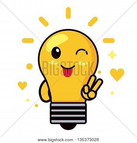 Kawaii represented by light bulb cartoon icon. Happy expression.  isolated and flat background