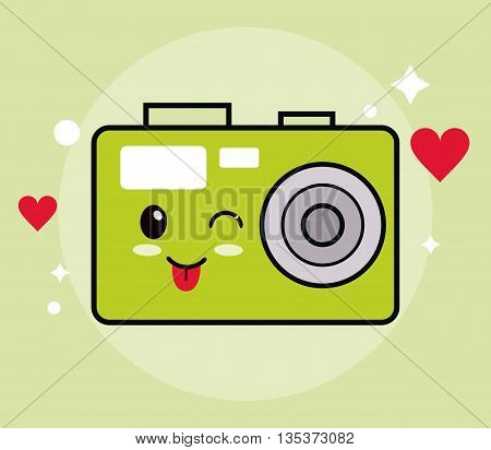 Kawaii represented by camera cartoon icon. Happy expression. green and flat background
