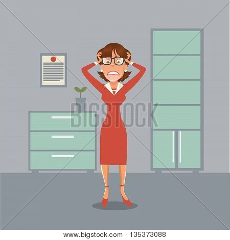 Stressed Business Woman Having a Headache in Office. Vector illustration