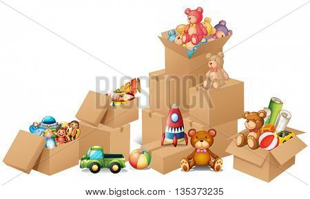 Boxes full of toys and bears illustration