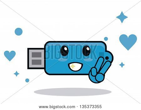 Kawaii represented by blue usb cartoon icon. Happy expression. isolated and flat background