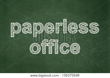Finance concept: text Paperless Office on Green chalkboard background