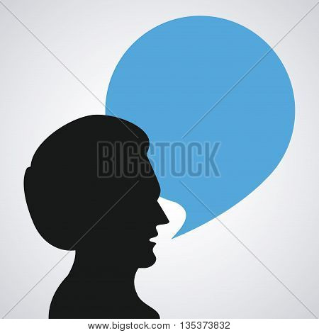 Communication represented by male person with bubble  design, isolated and flat background