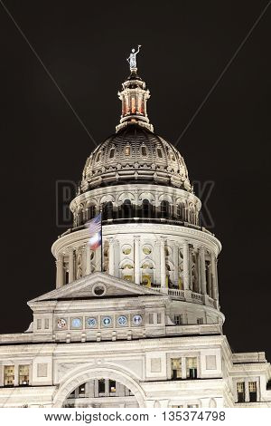Texas State Capitol building in Austin illuminated at night. Texas United States