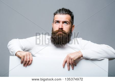 Bearded Sad Man With Paper