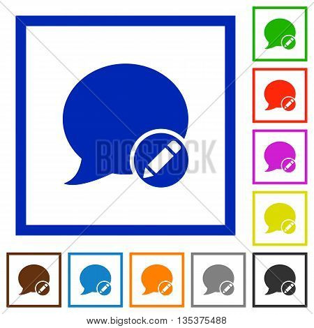 Set of color square framed Moderate blog comment flat icons
