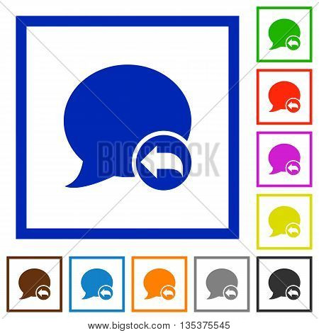 Set of color square framed Reply blog comment flat icons