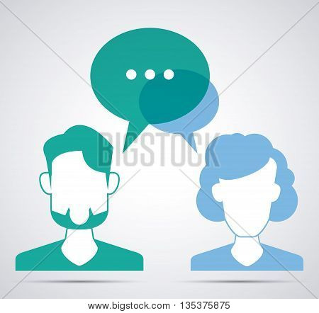 Communication represented by male and female person with bubble  design, isolated and flat  background