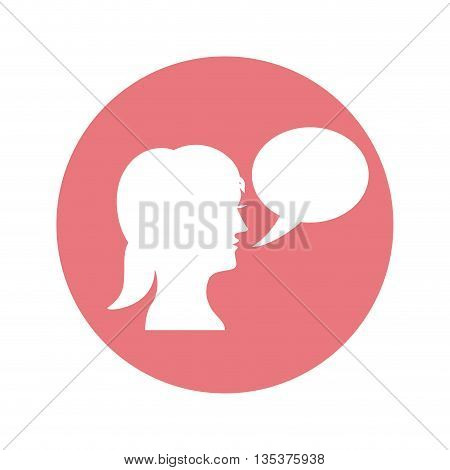Communication represented by female person with bubble over circle design, isolated and flat  background