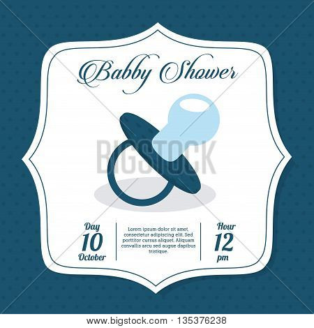 Baby Shower represented by pacifier design, decorated and blue background