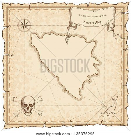 Bosnia And Herzegovina Old Pirate Map. Sepia Engraved Template Of Treasure Map. Stylized Pirate Map