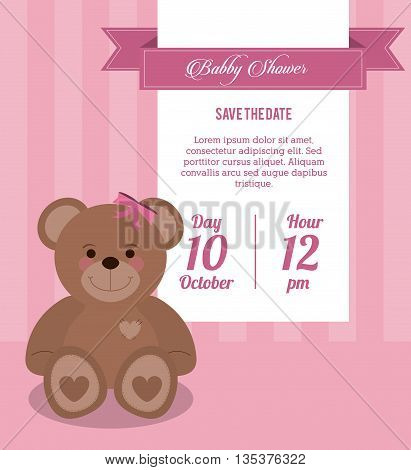 Baby Shower represented by teddy bear design, decorated and pink background