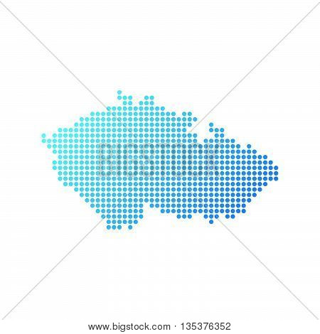 Map of Czech Republic, Vector Icon in blue color