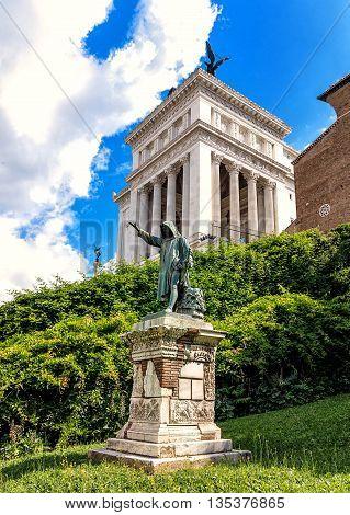 Historical Venice Square (Piazza Venezia) in Rome, Italy
