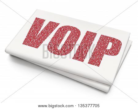 Web design concept: Pixelated red text VOIP on Blank Newspaper background, 3D rendering