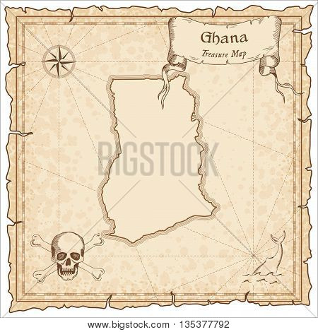 Ghana Old Pirate Map. Sepia Engraved Template Of Treasure Map. Stylized Pirate Map On Vintage Paper.