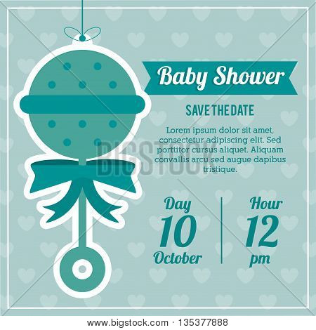 Baby Shower represented by maraca design, decorated and blue background