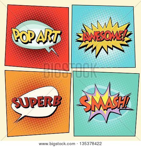 Set of retro comic bubbles pop art phrases vector. Pop art. Awesome. Superb. Smash