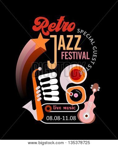 Retro jazz festival vector poster. Art composition of gramophone and musical instruments on a black background.