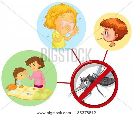 Children being sick from mosquito illustration