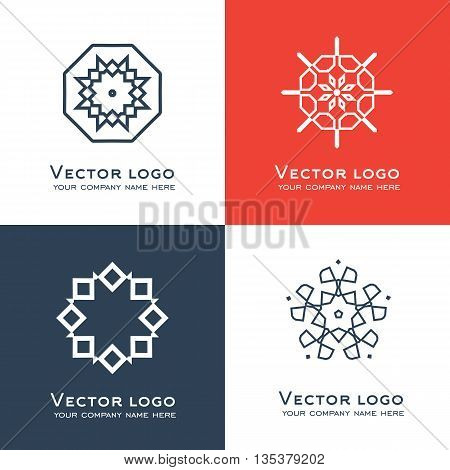 Set of vector abstract geometric logo. Celtic arabic style. Sacred geometry icon. Brand identity