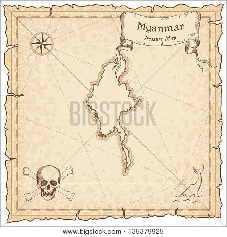 Myanmar Old Pirate Map. Sepia Engraved Template Of Treasure Map. Stylized Pirate Map On Vintage Pape