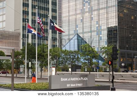 DALLAS USA - APR 9: The Bank of America Plaza skyscraper building in the Dallas downtown district. April 9 2016 in Dallas Texas United States